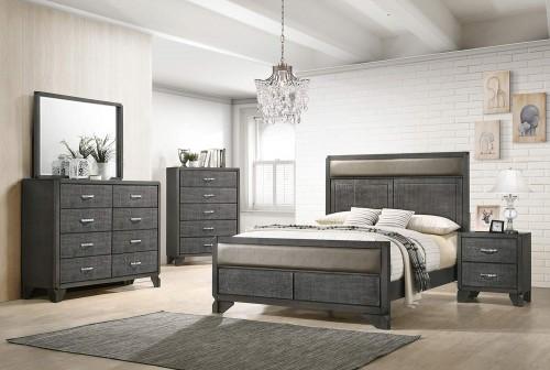 Noma Bedroom Set - Caviar/Grey Leatherette