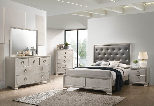 Salford Bedroom Set - Metallic Sterling/Charcoal Grey Leatherette