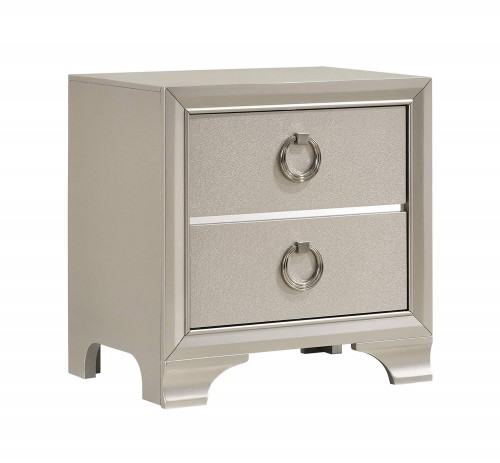 Salford Nightstand - Metallic Sterling
