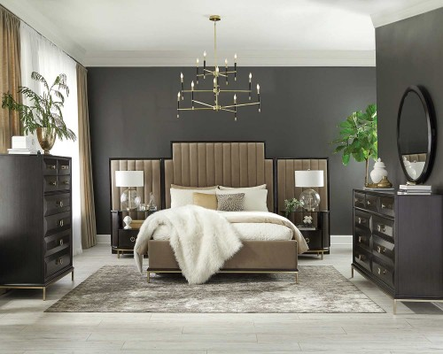 Formosa Bedroom Set - Americano/Camel Velvet