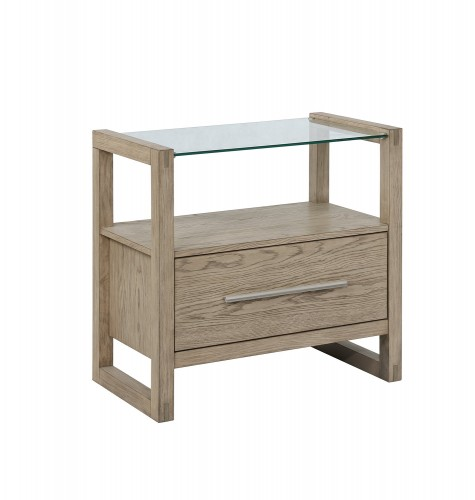 Smithson Nightstand Glass Top - Grey Oak