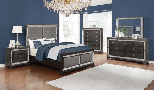 Morro Bay Bedroom Set - Caviar/Grey Fabric