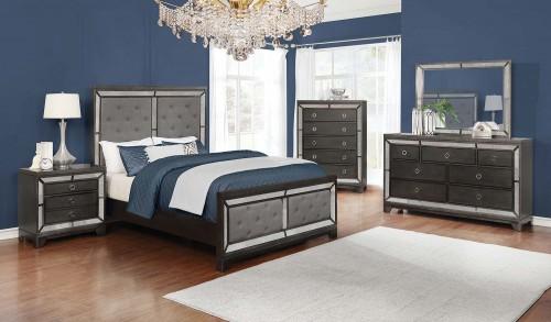 Morro Bay Bedroom Set - Caviar/Grey Fabric