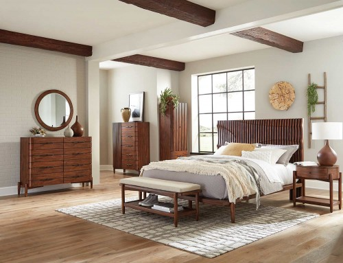 San Mateo Bedroom Set - Desert Teak/Beige Fabric