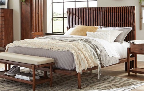 San Mateo Bed - Desert Teak/Beige Fabric