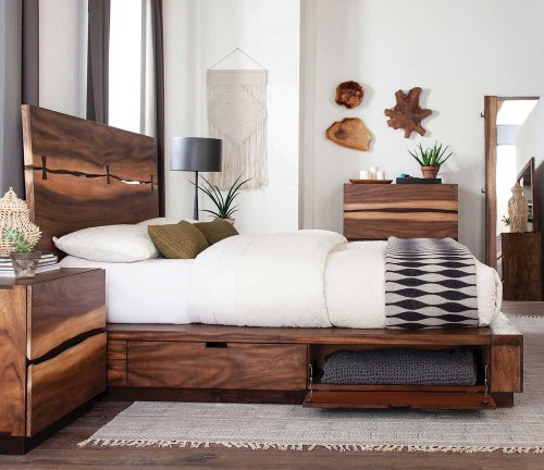 Winslow Storage Bed - Smokey Walnut/Coffee Bean