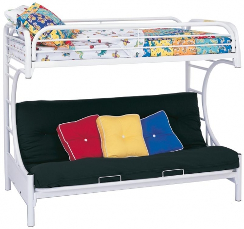 2253W Twin-Futon Bunk Bed - White
