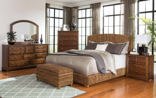 Laughton Abaca Panel Bedroom Set - Natural/Cocoa Brown