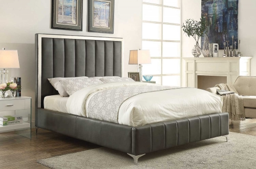 Jared Low Profile Upholstered Bed - Gray Leatherette
