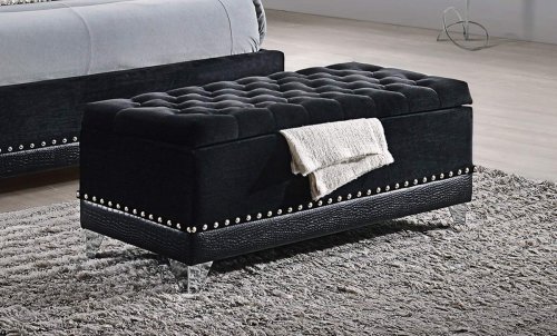 Barzini Upholstered Storage Trunk Bench - Black Velvet
