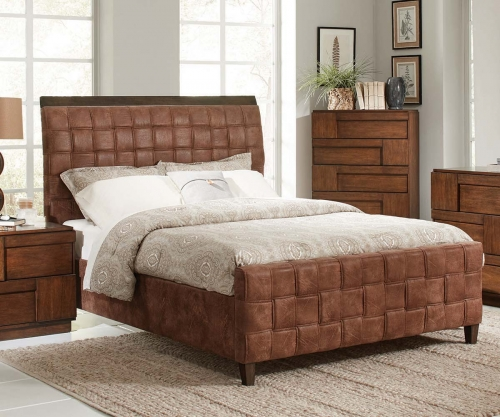 Gallagher Upholstered Woven Queen Bed - Golden Brown - Coated Brown Microfiber