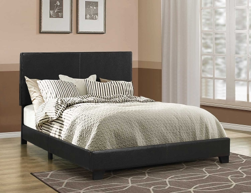 Dorian Low Profile Upholstered Bed - Brown Leatherette