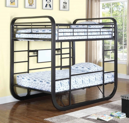 Archer Full Size Workstation Bunk Bed - Gunmetal