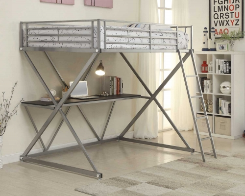 400034F Full Workstation Loft Bed - Silver