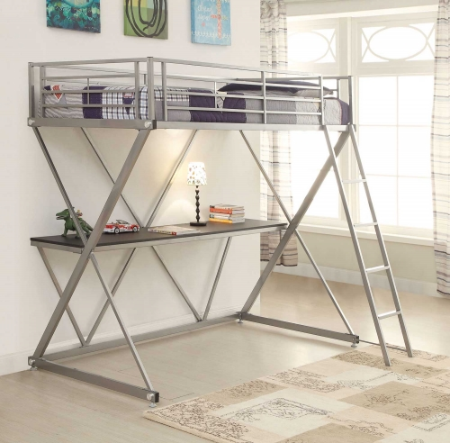400034T Twin Workstation Loft Bed - Silver