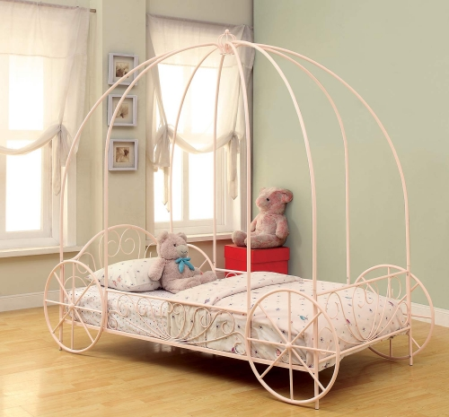 Massi Twin Size Canopy Bed - Powder Pink
