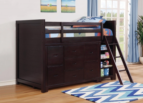 Danville Twin Loft Storage Bunk Bed - Cappuccino