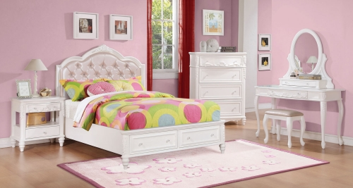 Caroline Upholstered Platform Storage Bedroom Collection - White