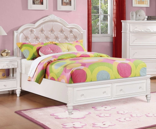 Caroline Upholstered Platform Storage Bed - White