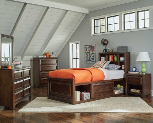 Greenough Twin Size Storage Bedroom Set - Maple Oak