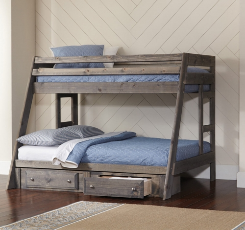 Wrangle Twin/Full Size Storage Bunk Bed - Gunsmoke