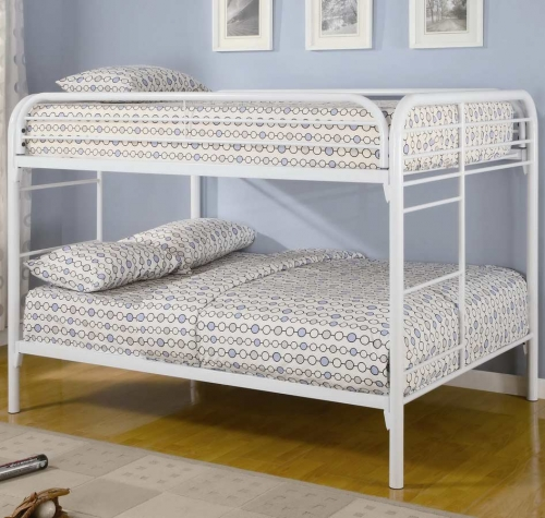 460056W Full-Full Bunk Bed - White