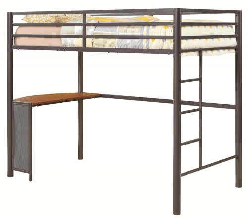 Fisher Twin Size Workstation Loft Bed - Gunmetal