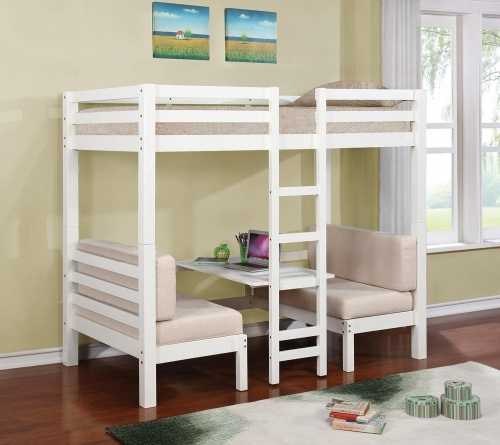 Joaquin Twin/Twin Convertible Loft Bed - White