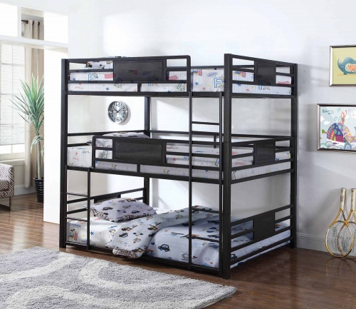 Rogen Convertible Full Triple Bunk Bed - Dark Bronze
