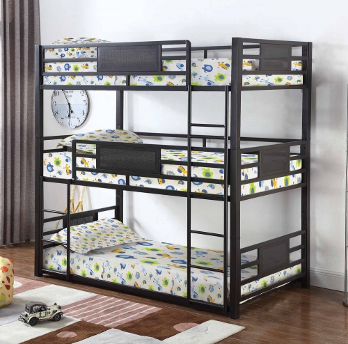 Rogen Convertible Twin Triple Bunk Bed - Dark Bronze