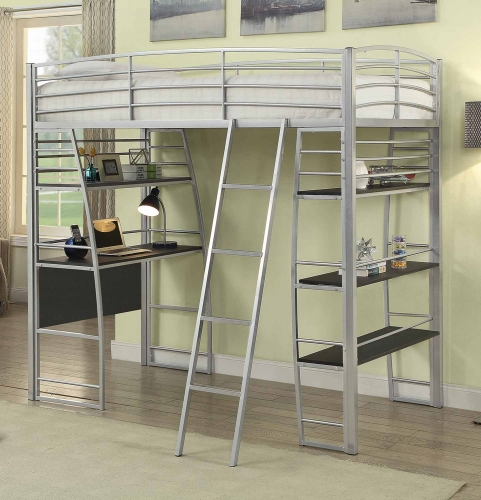 Escalon Twin Size Workstation Loft Bed - Silver