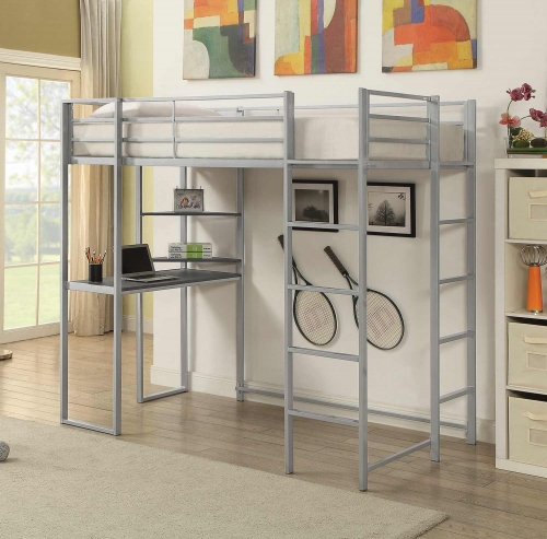 Trinidad Twin Size Workstation Loft Bed - Silver