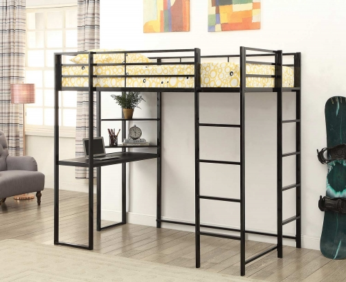 Trinidad Twin Size Workstation Loft Bed - Black