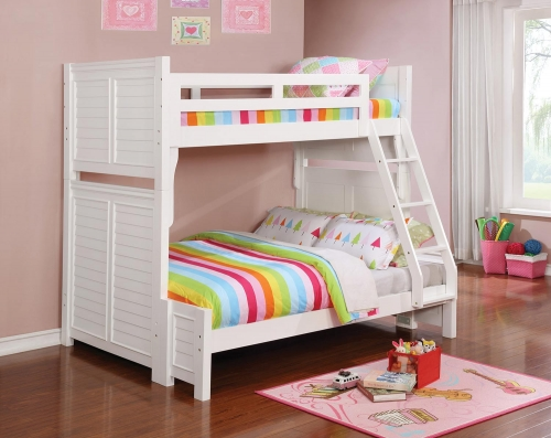 Edith Twin/Full Size Bunk Bed - White