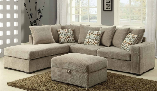 Olson Sectional Sofa Set - Taupe with Brown finish legs