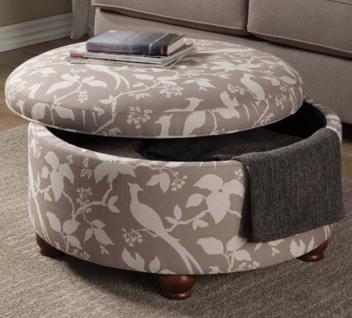 500060 Storage Ottoman - Grey/Off White