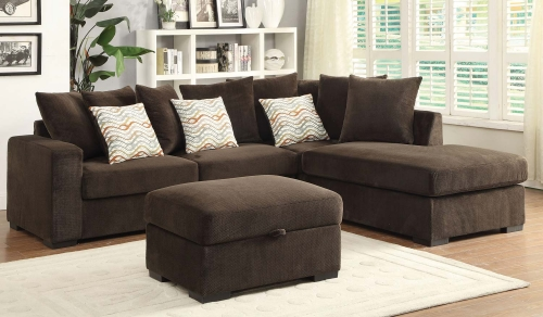 Olson Sectional Sofa Set - Chocolate with Brown finish legs