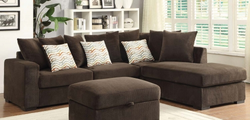 Olson Sectional Sofa - Chocolate with Brown finish legs