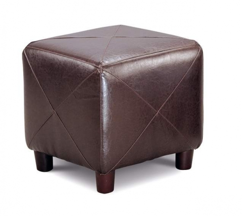 Cermak Dark Brown Bicast Cube Ottoman