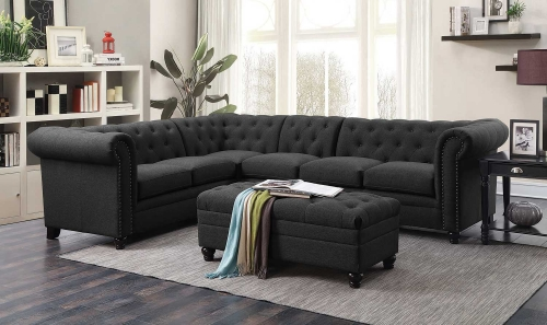 Roy Sectional Sofa Set - Grey