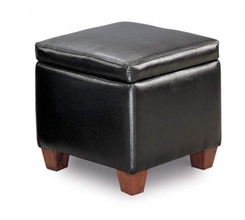 Cermak Black Bicast Storage Cube Ottoman
