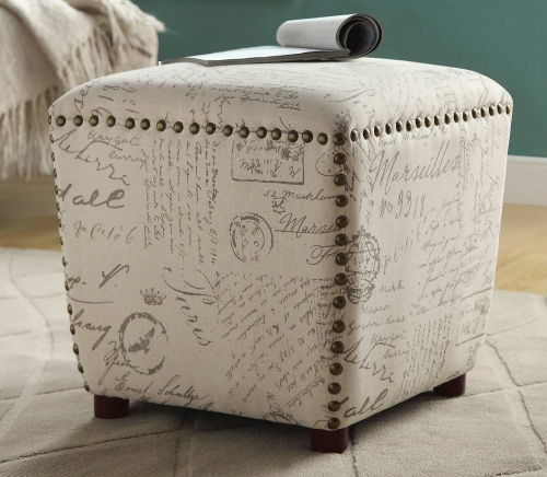 501108 Stool - Off White/Grey French Script