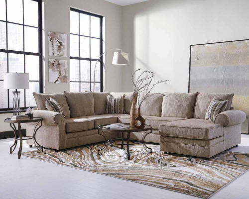 Fairhaven Sectional Sofa - Cream Herringbone