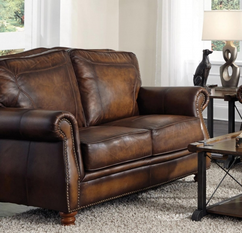Montbrook Love Seat - Hand Rubbed Brown