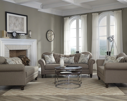 Carnahan Sofa Set - Stone Grey