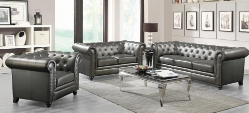 Roy Sofa Set - Gunmetal