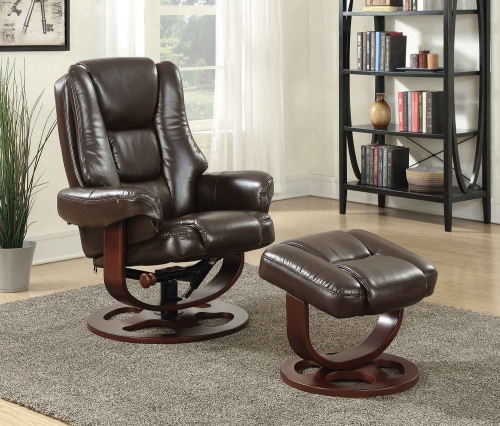 600086 Glider Recliner with Ottoman - Brown