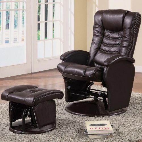 600166 Glider and Ottoman - Brown