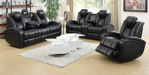 Delange Motion Power Sofa Set - Black