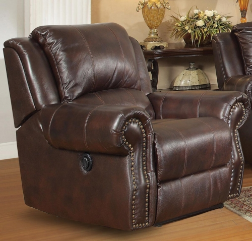 Sir Rawlinson Motion Rocker Recliner - Burgundy Brown